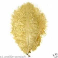 "10 x Large Ostrich Feathers, 20""-30"", Gold, 51-76cm Long, 100% Natural Dyed BNIB"