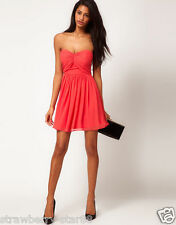 Mini Skater Dress with Sweetheart Neck UK 12 EU 40 USA 8 Coral