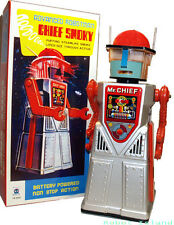 Chief Smoky Robot Tin Toy Silver Battery Operated SALE!