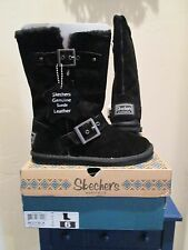 SKECHERS STAR SHOOTER BLACK SUEDE MIDCALF BOOTS WOMENS SHOES SZ  6 M  NEW