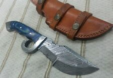 knife king's Damascus Sharp tracker with finger guard & leather sheath