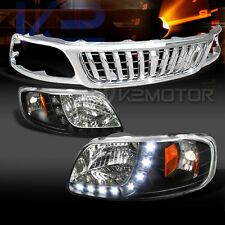99-03 F150 Black SMD LED DRL Headlights+Chrome Vertical Hood Grille