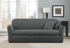 Smoke Gray chevron two piece Sofa  sure fit slip cover slipcover