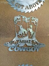 ARIAT BOOTS COWBOY RARE LARGE HEAVY DUTY PLASMA CUT  METAL SIGN BOOT RM WILLIAMS