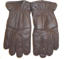 Men's Faux Shearling Lined Genuine Leather Gloves,Brown, XL, Style BGB