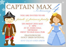 10 Personalised Birthday Invitations Princess and Pirate Party Invites Boy Girl