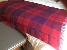 "Vintage highland Scotland  Mohair Wool red purple  Blanket Throw 50"" X 78"""