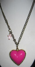 BETSEY JOHNSON HTF HOT PINK HEART WITH CROSS