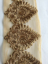 Floral Vintage Gold Indian Asian Lace Trim Dress Craft Sewing Bridal Trimmings