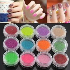 Nail Art X12 Caviar & Glitter Glass Mini Bottles Manicure Beads Balls Decoration