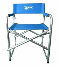 2 Pack Blue Aluminium Directors Folding Chair With Arms Camping Fishing Garden