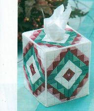 SOUTHWEST QUILT BLOCK TISSUE BOX COVER PLASTIC CANVAS PATTERN INSTRUCTIONS