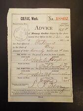 Advice of Money Order Colfax, Washington 1885