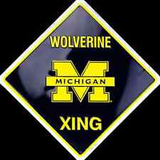 "MICHIGAN WOLVERINES 12 x 12"" METAL WOLVERINE XING CROSSING SIGN UNIVERSITY"