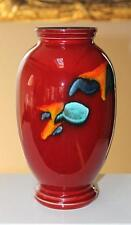 """Poole Art Pottery Large Volcano Red Vase 10"""" Tall"""