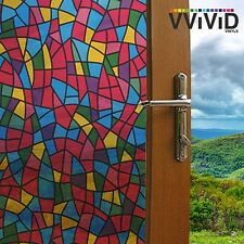 """VViViD Privacy Window Glass Film 36"""" x 24"""" Stained Glass Home Decor Removable"""