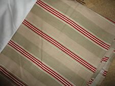 "TOMMY HILFIGER TAUPE RED CREAM STRIPE KING BEDSKIRT 14"" SPLIT 100% COTTON BOYS"