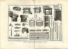 Stampa antica LAVORAZIONE DELLA CERA Pl. 2 Enciclopedia Diderot 1783 Old print
