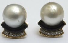 Antique 18ct Gold Mabe Pearl Diamond and Onyx Platinum Earrings