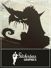 CREEPY HALLOWEEN CAT WITCH VINYL DECAL STICKER WINDOW/WALL/DOORS
