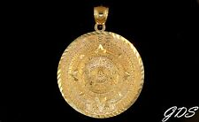 Real 10K Gold D/C Mayan Aztec Mexican Sun Calender Medallion Pendant Charm Piece