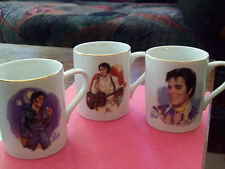 1985 NOSTALGIA COLLECTIBLES -ELVIS 50 th ANN. SET OF 3  TEA -COFEE  CUPS
