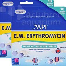 2 Pack API EM Erythromycin Powder Aquarium Bacterial Fish Treatment E.M. Powder