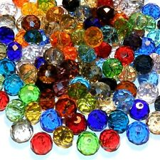 CRL839 Assorted Mixed Color 12x10mm Faceted Rondelle Crystal Glass Beads 100pc