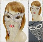 Rhinestone Crystal Face Cat Eye Mask Silver Fringe Chains Masquerade Party NEW
