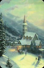 Moonlit Village --- Thomas Kinkade Christmas Card with Message --- Not Postcard