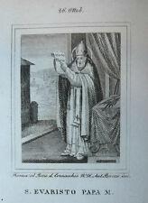 S. Evaristo Papa Mart. 26 ottobre 1840 Incisione Santino Acquaforte Stampa Banzo