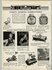 1938 PAPER AD Ronson Cigarette Lighter Touch Tips Tip Case Box Table Literpact