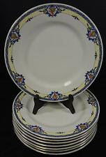 Set of Eight Victoria Czechoslavakia China Dinner Plates - Blue Rim * Oranges