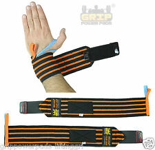 "Deluxe Wrist Wraps Wrist Support 18"" Long Pair of 2 Crossfit 2 Size Thumb loops"