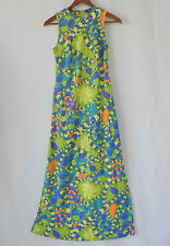 Vtg Hippie Maxi Dress Summer Vibrant Multi-Color Floral Sleeveless Size Xs