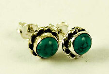 **BEAUTIFUL 925 STERLING SILVER ROUND CABOCHON TURQUOISE STUD EARRINGS**