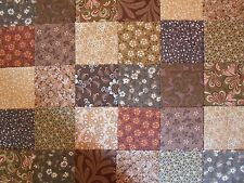 """Fabric 3"""" Charm Pack Browns Patchwork, Quilting Squares 100% Cotton Craft"""