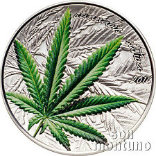 2016 Benin CANNABIS SATIVA 1 Oz Marijuana HIGH Relief Silver Proof Coin BOX+COA