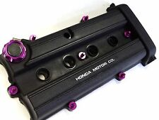VMS PURPLE ENGINE DRESS UP KIT B20 BILLET VALVE COVER WASHER SEALS NUTS OIL CAP