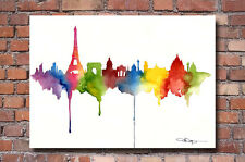 Paris Skyline Art Print Watercolor Painting Eiffel Tower City Wall Decor