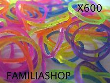 600 élastiques paillette + 24 clips création bracelet style Rainbow Loom