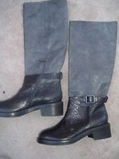 $675 Alberto Fermani Boots Black/Grey Leather Tall Riding Boots Size 36