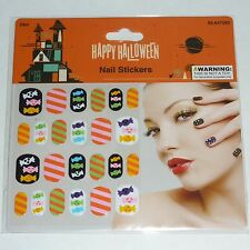 24 pc Nail Art 3D Stickers Wraps Halloween Decals Candy Stripes Pink Orange