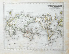c1850 Weltkarte Map of the World Stahlstich-Landkarte Radefeld