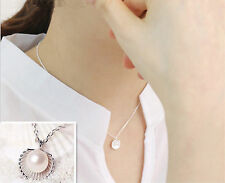 Fashion Women Fresh Silver Pearl Shell Wedding Charm Jewelry Pendant Necklace
