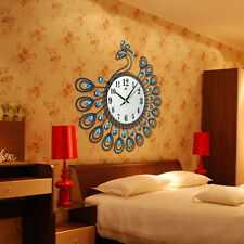 Fashion Large Number Wall Clock Crystal Diamond Peacock Home Decor Art Modern