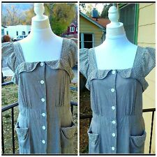 Vintage 1940s XL PRINCESS PEGGY Grey White Sundress Pinafore House Dress