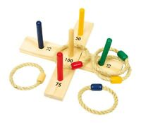 Quoits Throwing Game Wooden Quoits Hoopla Ring Toss Set Family Garden Game