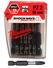 Milwaukee Shockwave 4932352976 PZ2 POZI impacto deber 50 mm Destornillador bits X10