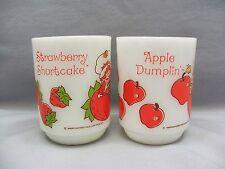 Set Apple Dumplin Strawberry Shortcake Doll Anchor Hocking Milk Glass Coffee Mug